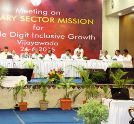 Dr Wani making a presentation during the Andhra Pradesh Primary Sector Mission review meeting at Vijaywada.
