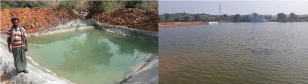 Water conservation structures in Kurnool watershed – Left: Small farm-pond, Right: Big community pond.